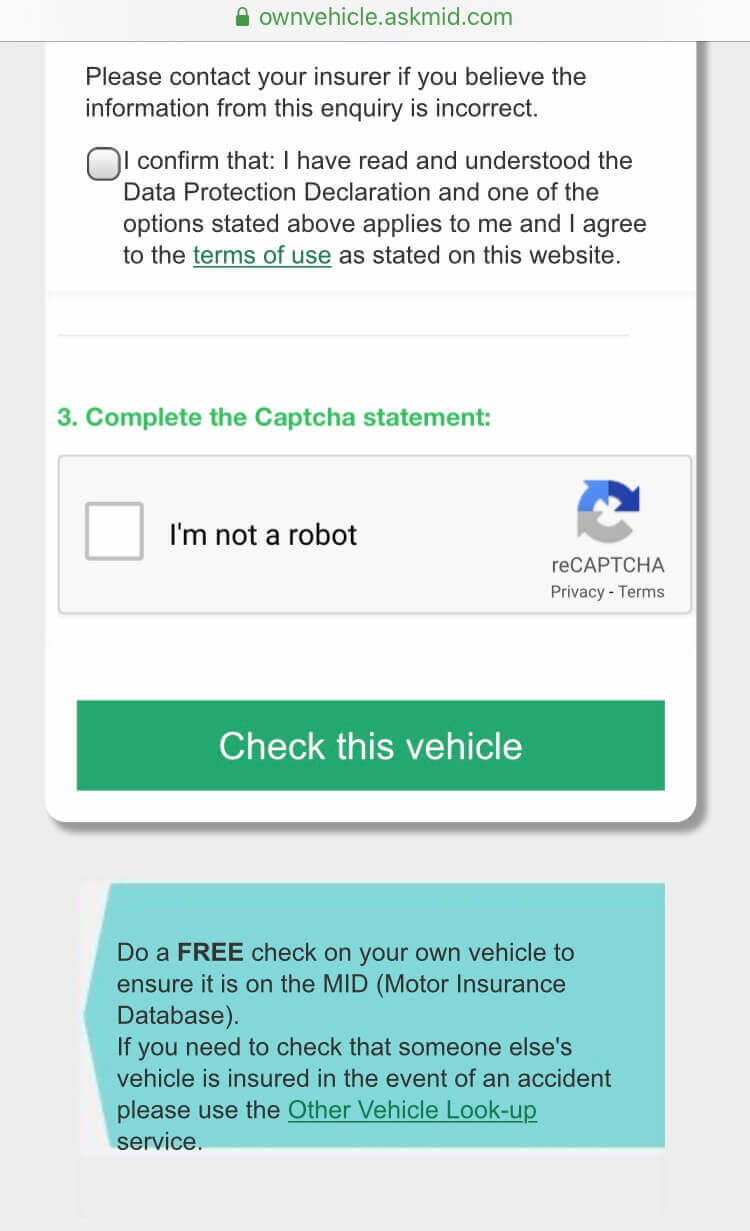 Car insurance check on AskMID