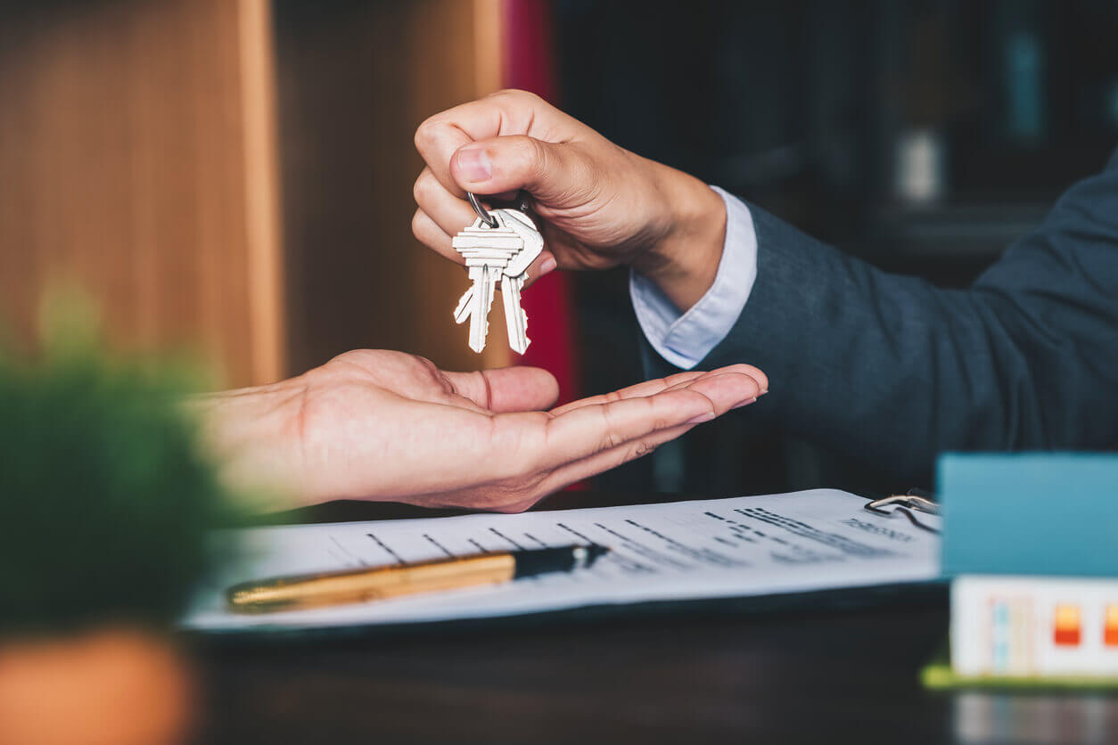 Handing over the keys to a new house