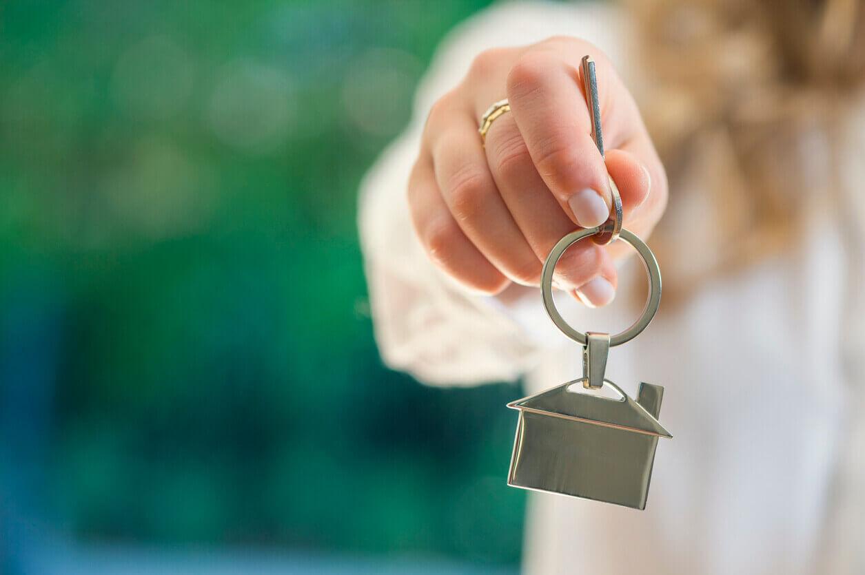 Handing over new house keys