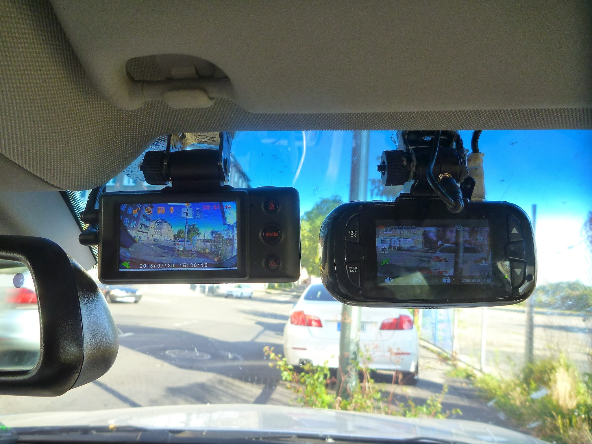 Dashboard cameras in car