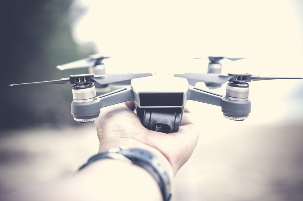 drone being held in hand