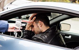 drunk driver in car