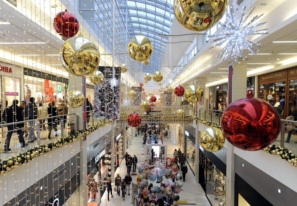 Shopping centre with Christmas decorations