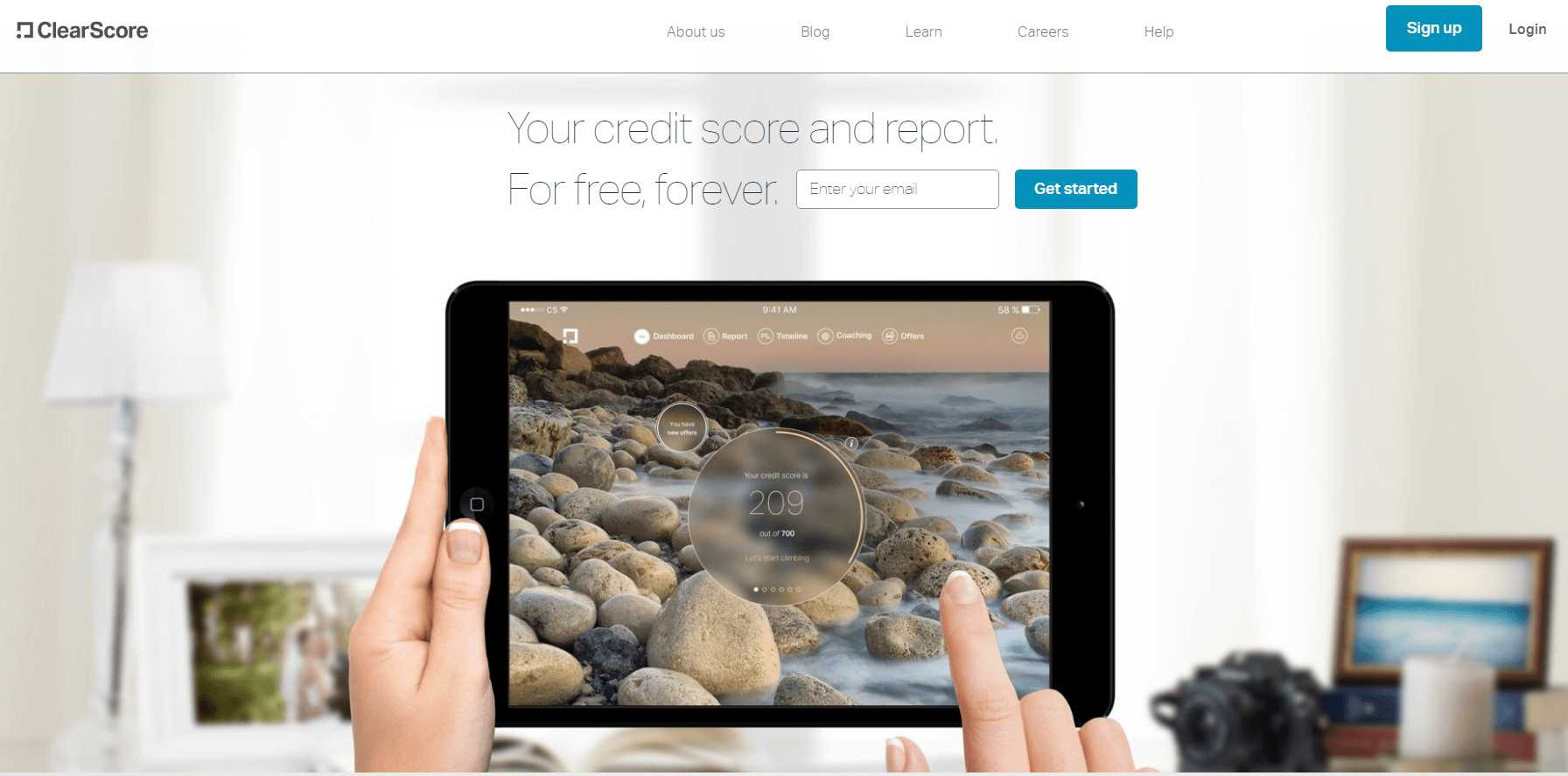 ClearScore homepage
