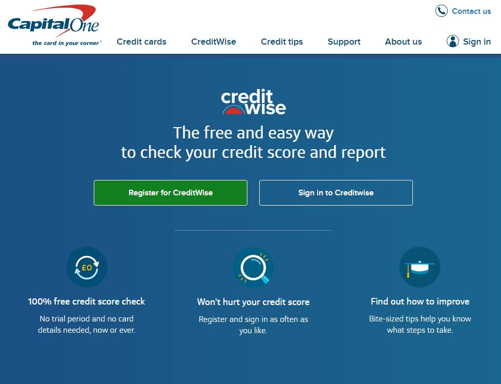 CreditWise home page