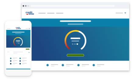 CreditWise credit score report on screen