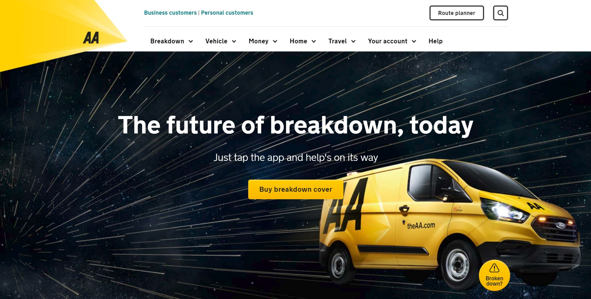 The AA's home page on website