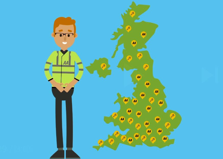 A cartoon map showing areas in the UK that are covered by the AA.