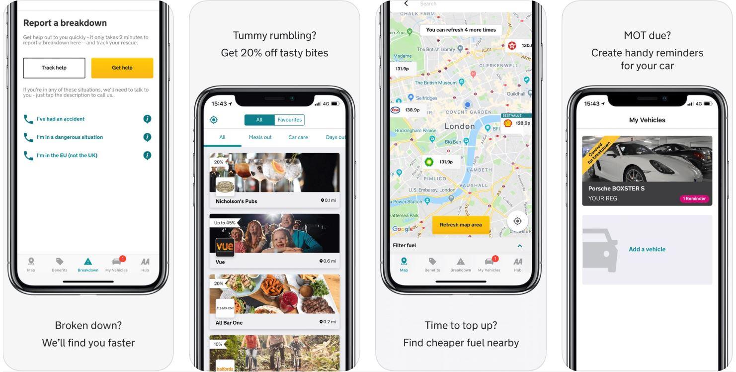 Screenshots showing what the AA app looks like