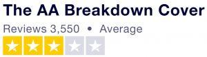 The AA Truspilot score showing 3 stars
