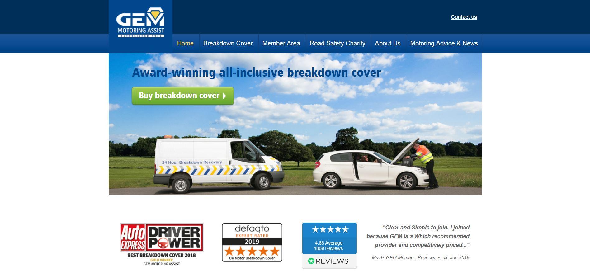 GEM's website home page