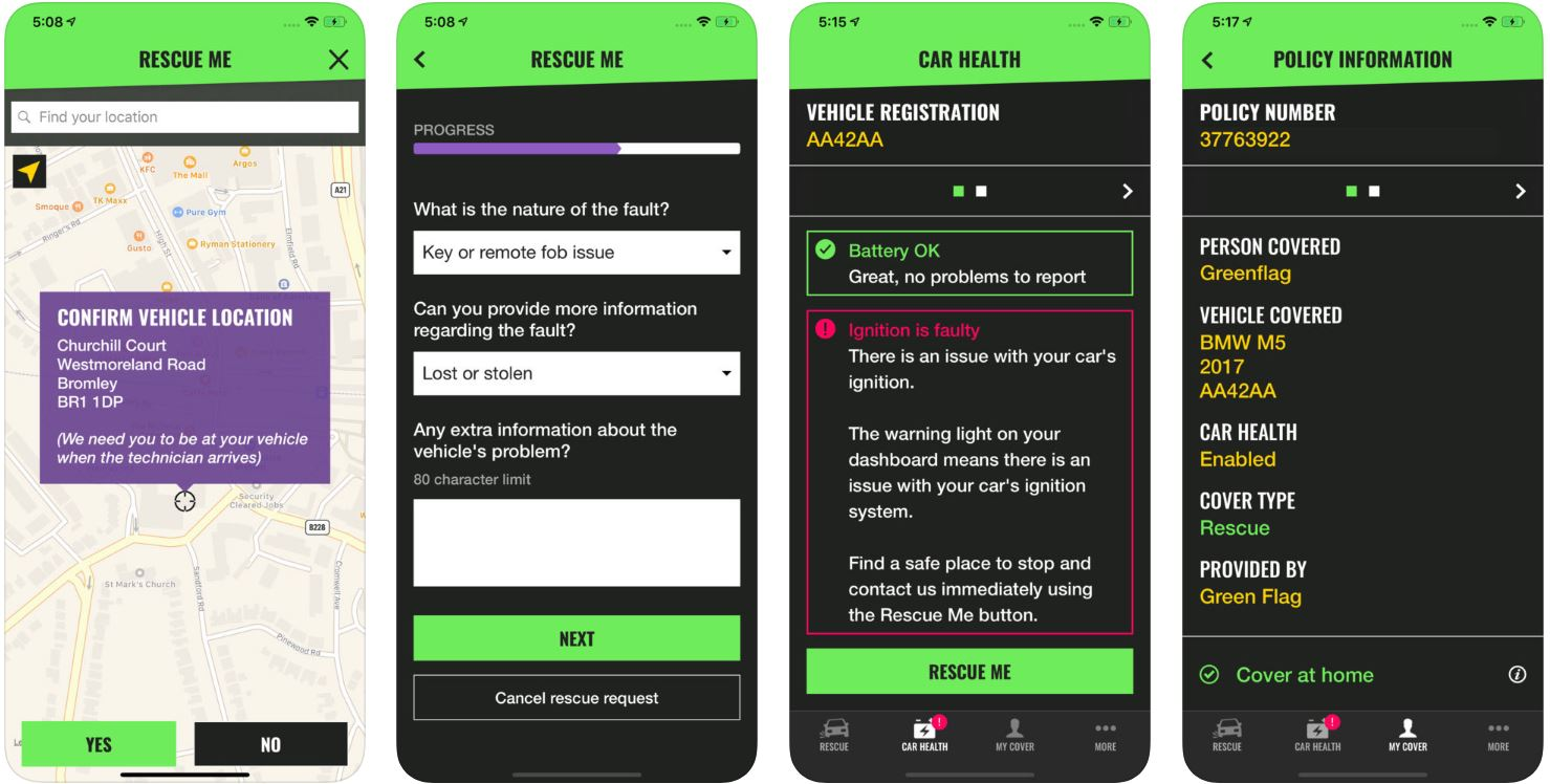 A screenshot showing what Green Flag's app looks like