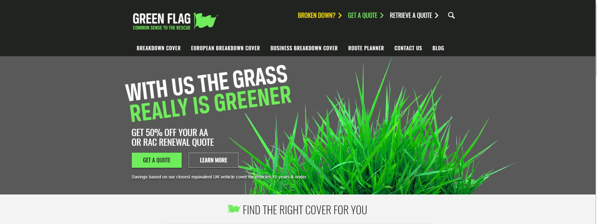 Green Flag's website home page