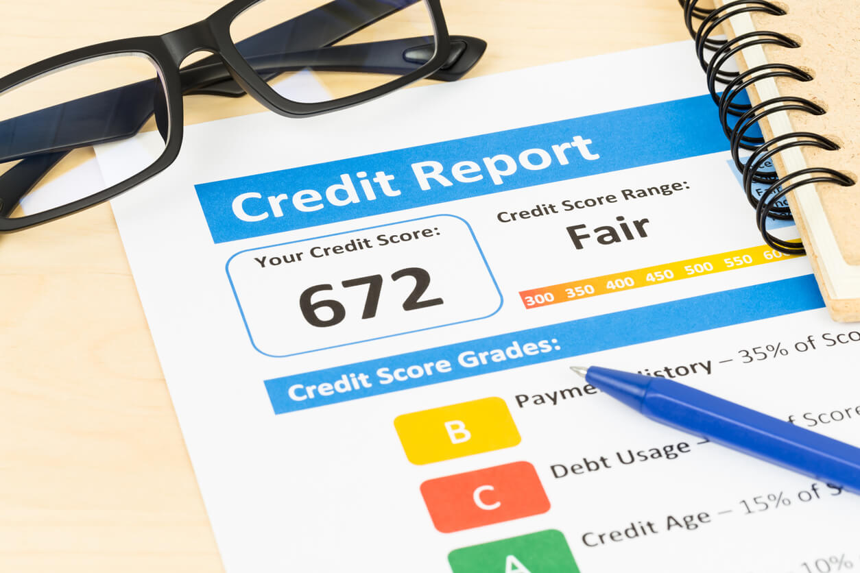 A credit report showing a fair score
