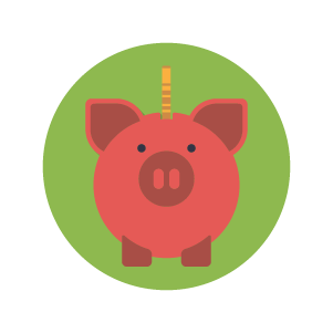 Piggy bank cartoon icon with green background.