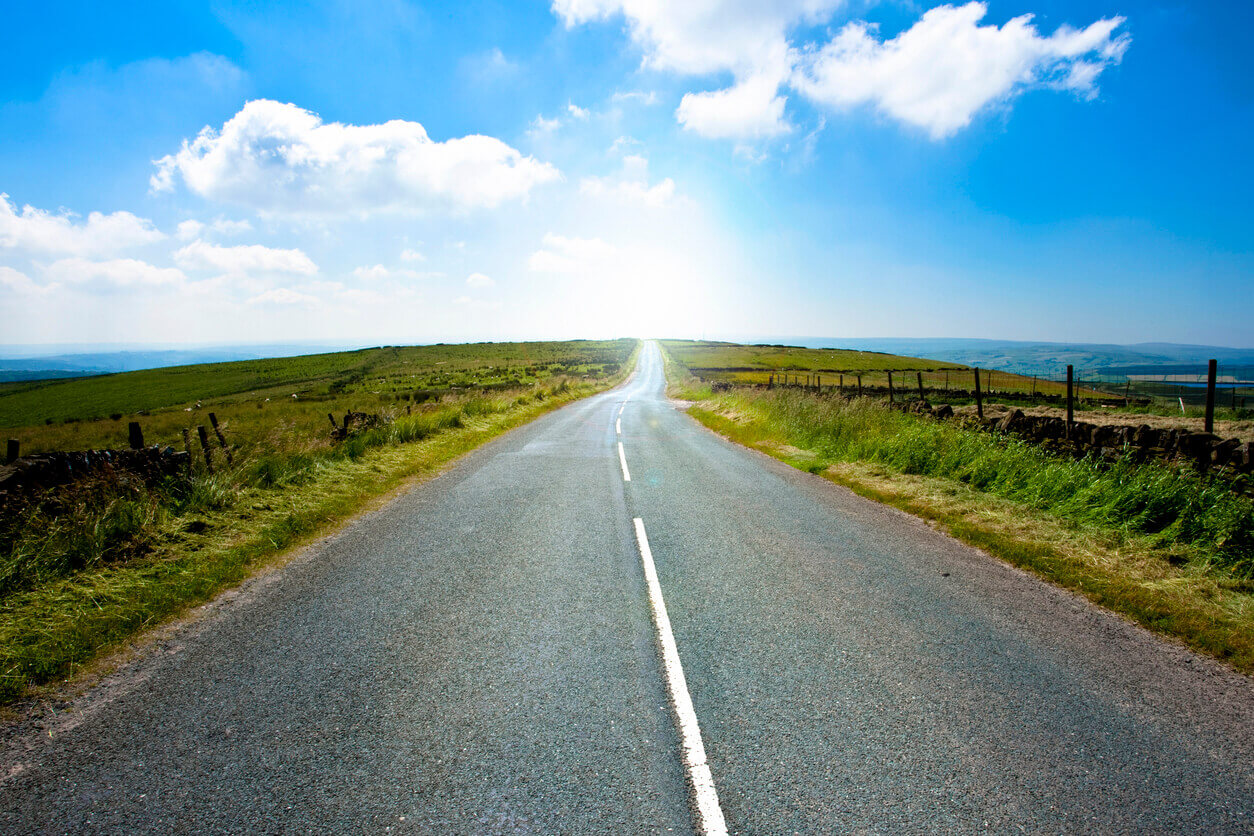 Open road in summer in Britain