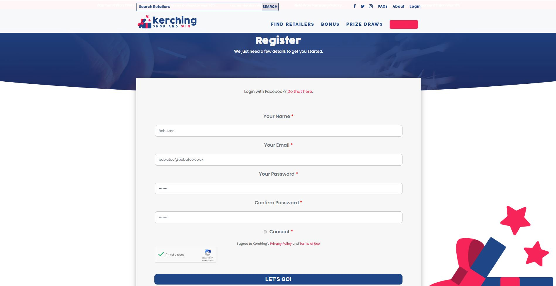 Screenshot of step one of Kerching's sign-up process