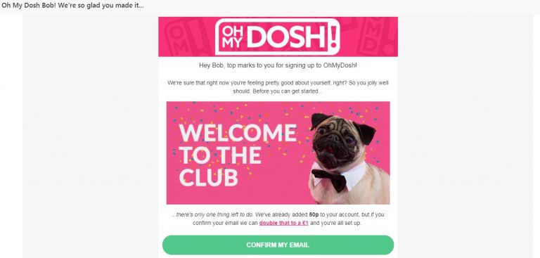 OhMyDosh welcome page