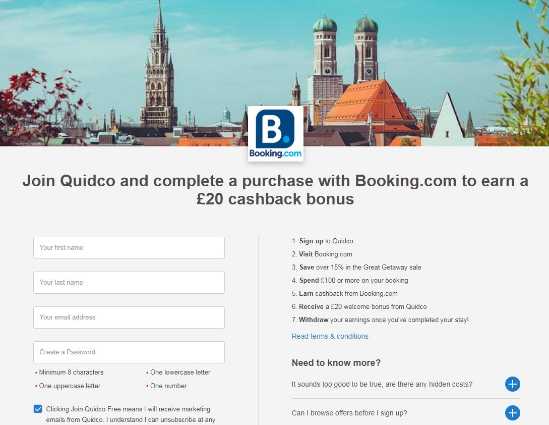 Booking.com sign-up stage 1