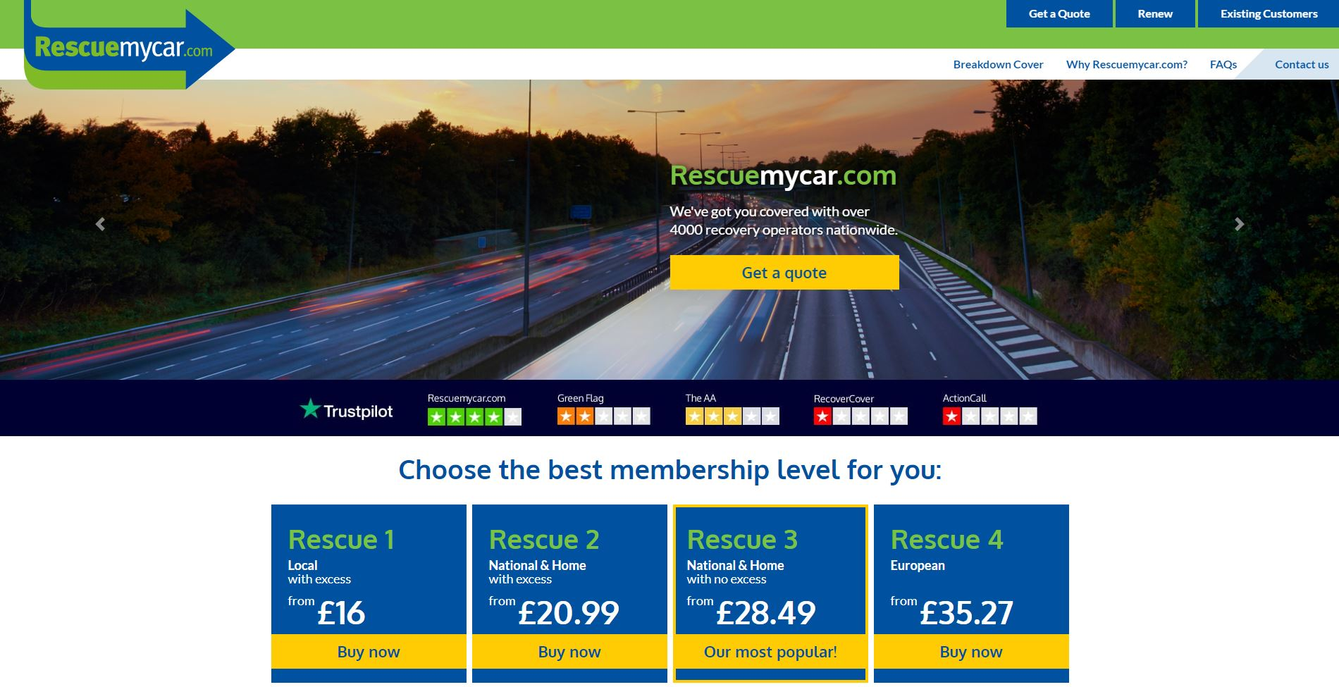 RescueMyCar's website homepage