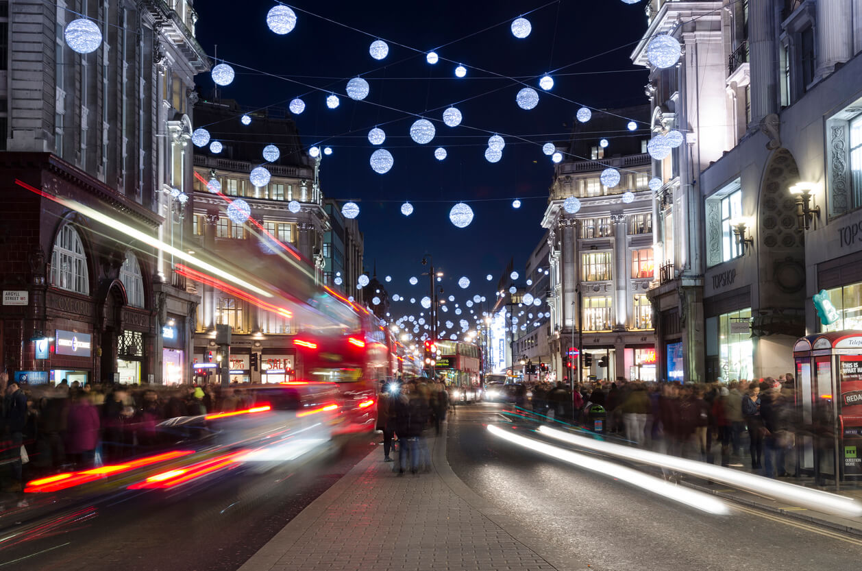 Oxford Street in London with Christmas lights