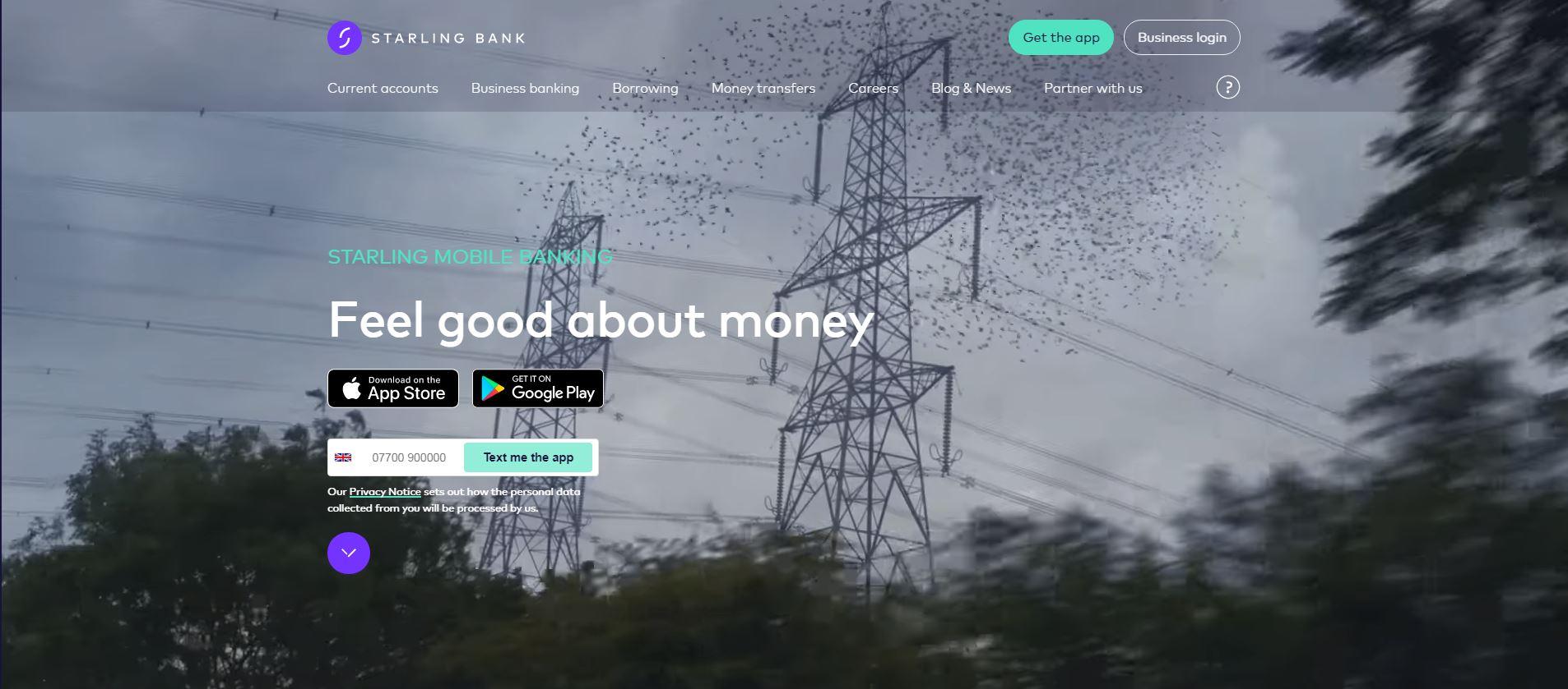 Starling's website homepage