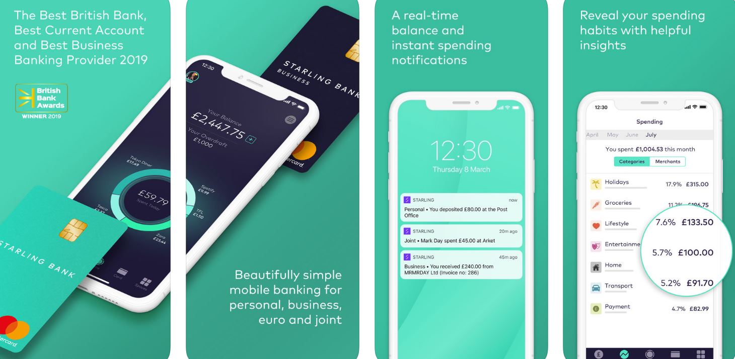 Images showing the Starling app