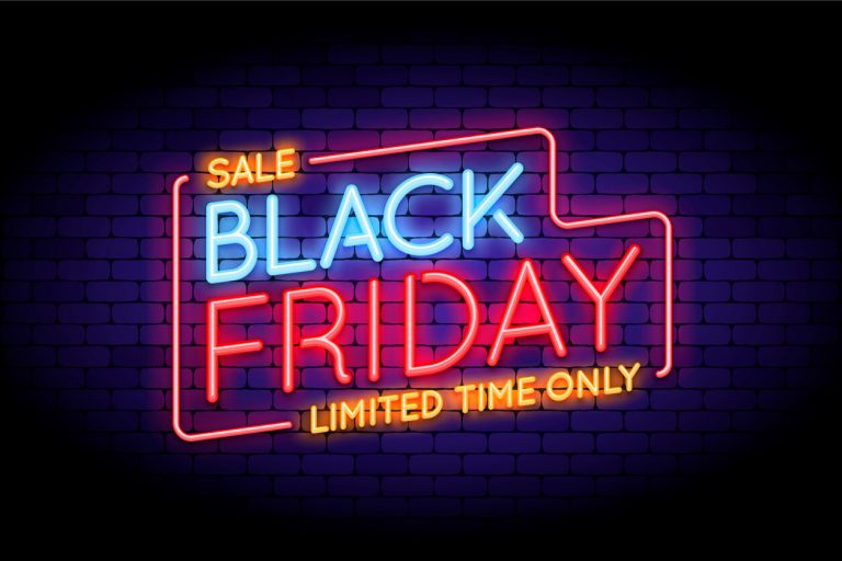 Neon sign saying 'Sale Black Friday Limited Time Only'