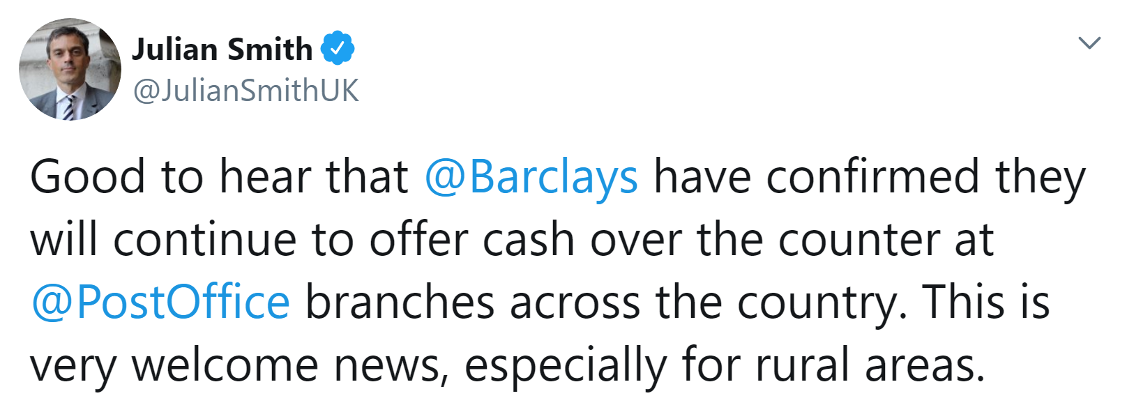 Good to hear that Baraclays have confirmed they will continue to offer cash over the counter at Post Office branches across the country. This is very welcome news, especially for rural areas.