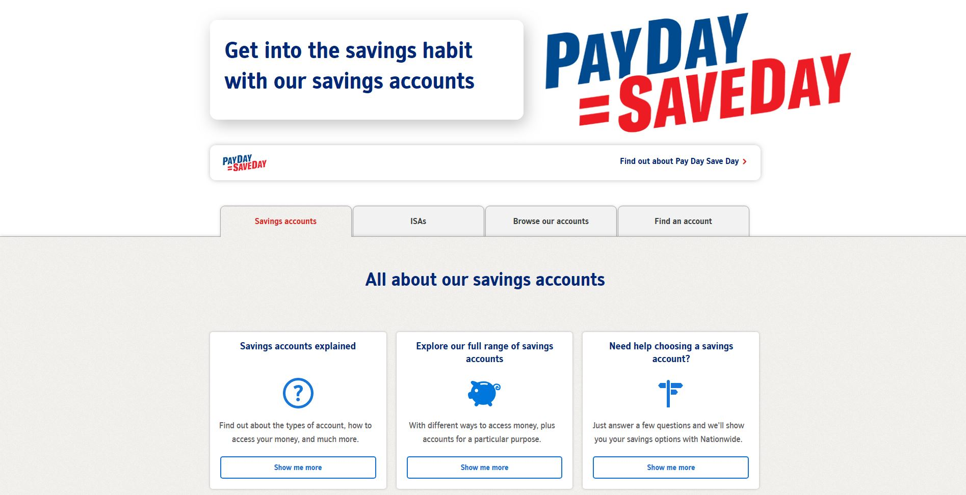 Nationwide's savings accounts information