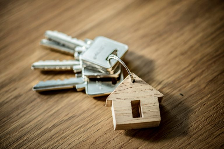 A bunch of keys with a small wooden house keyring.