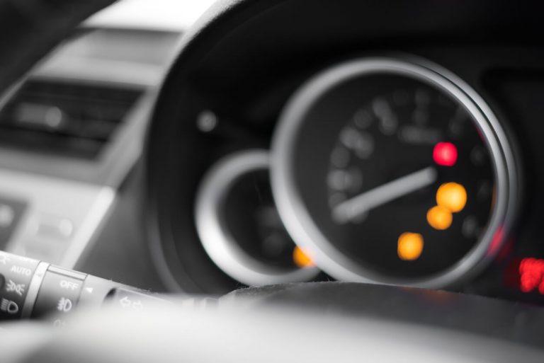 Dashboard warning lights on