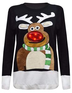 Rudolf Christmas lights jumper