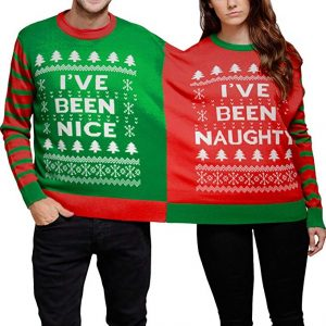 Two people wearing a joint Christmas jumper
