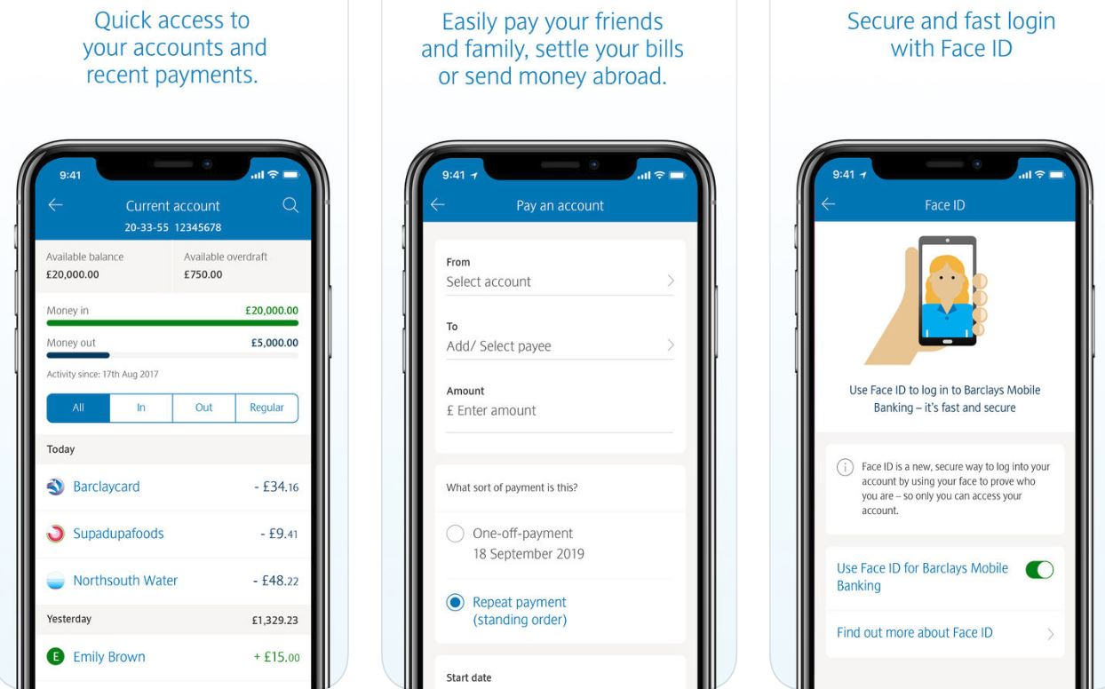Screenshots of Barclays' app