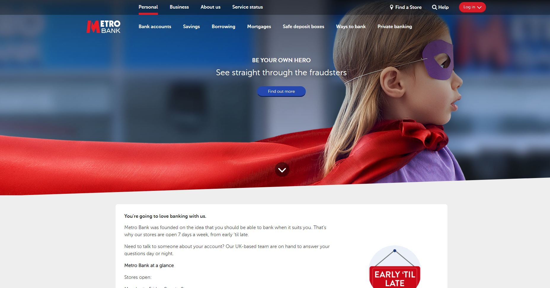 Metro Bank website homepage