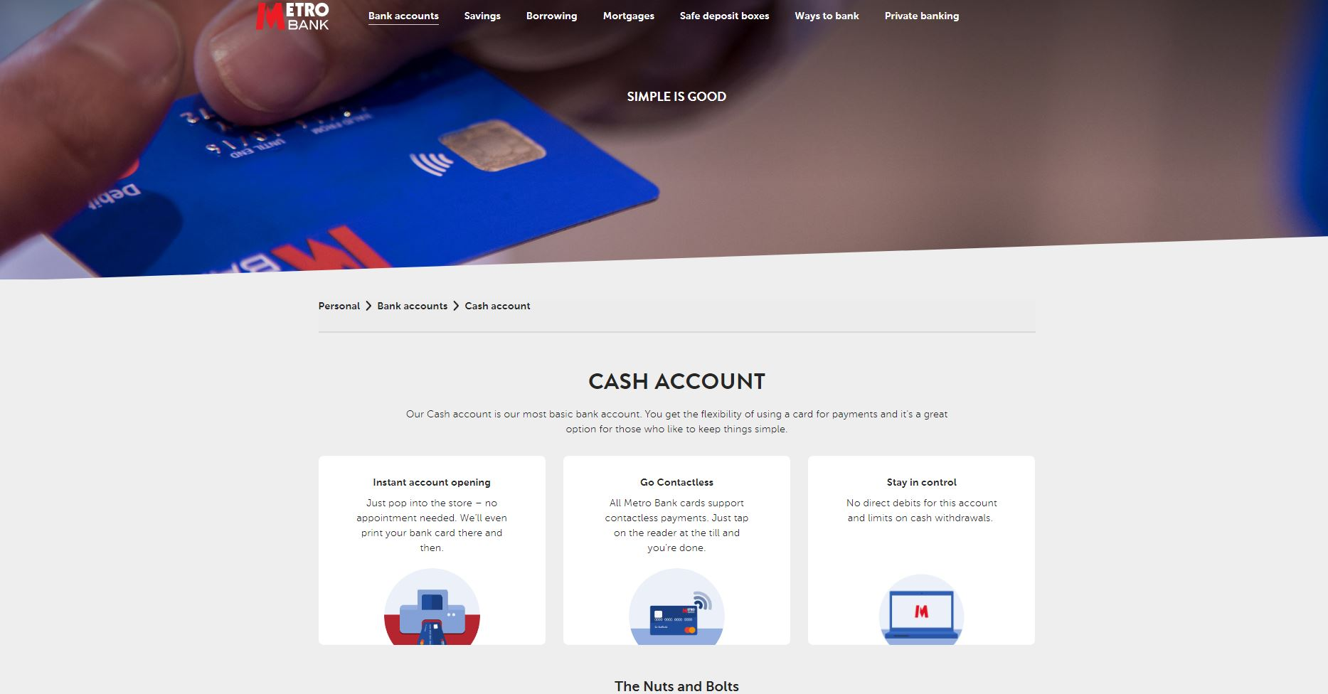 Cash account details