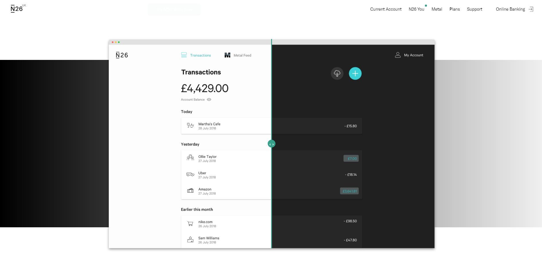 An example of bank transactions with N26