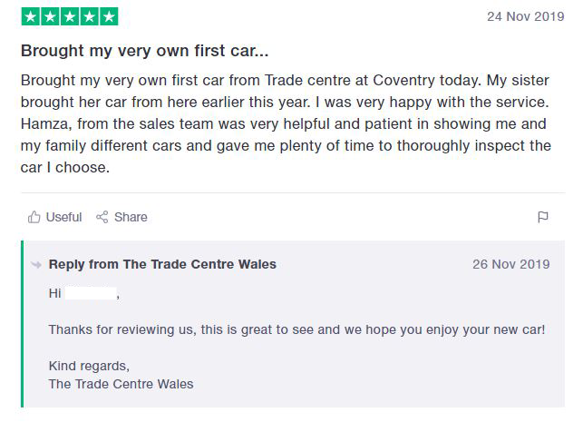 Positive Trustpilot review of The Trade Centre Group
