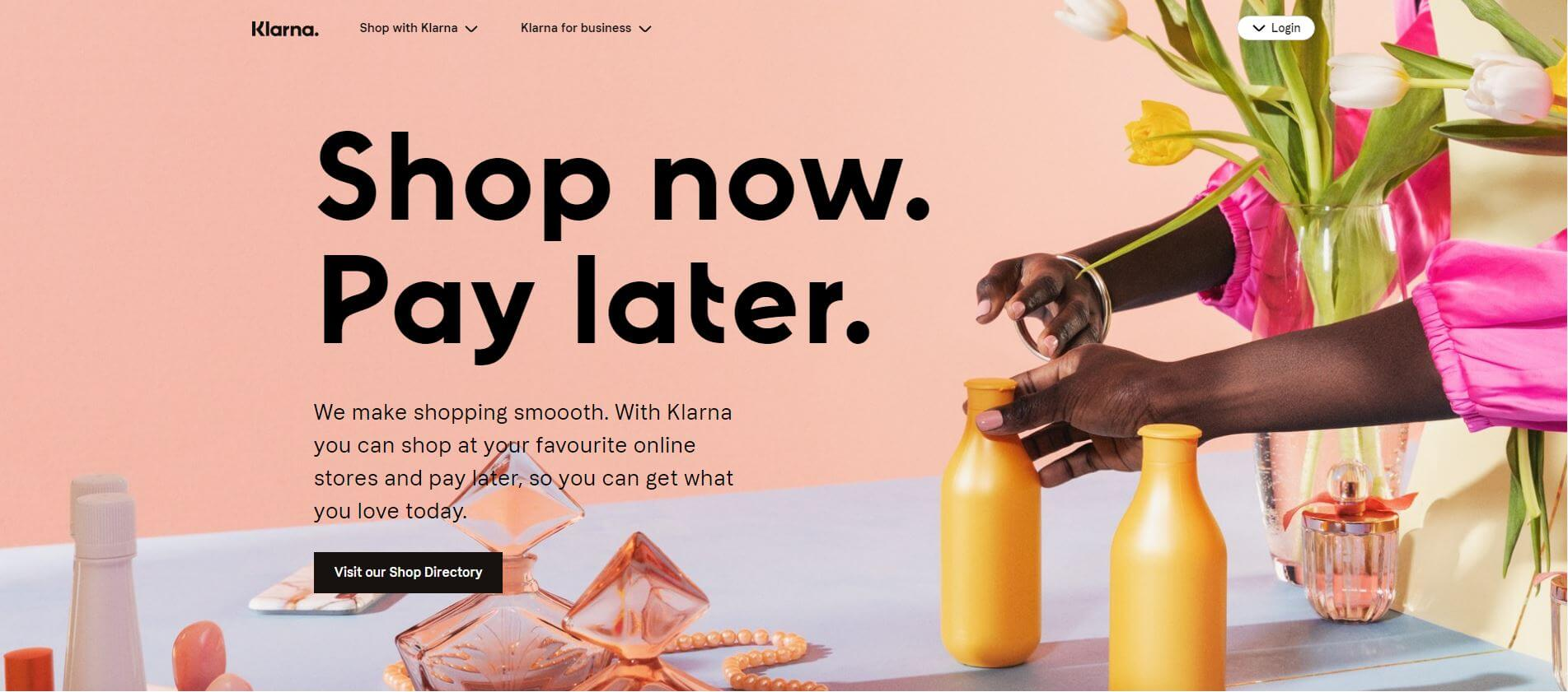 Klarna's website homepage