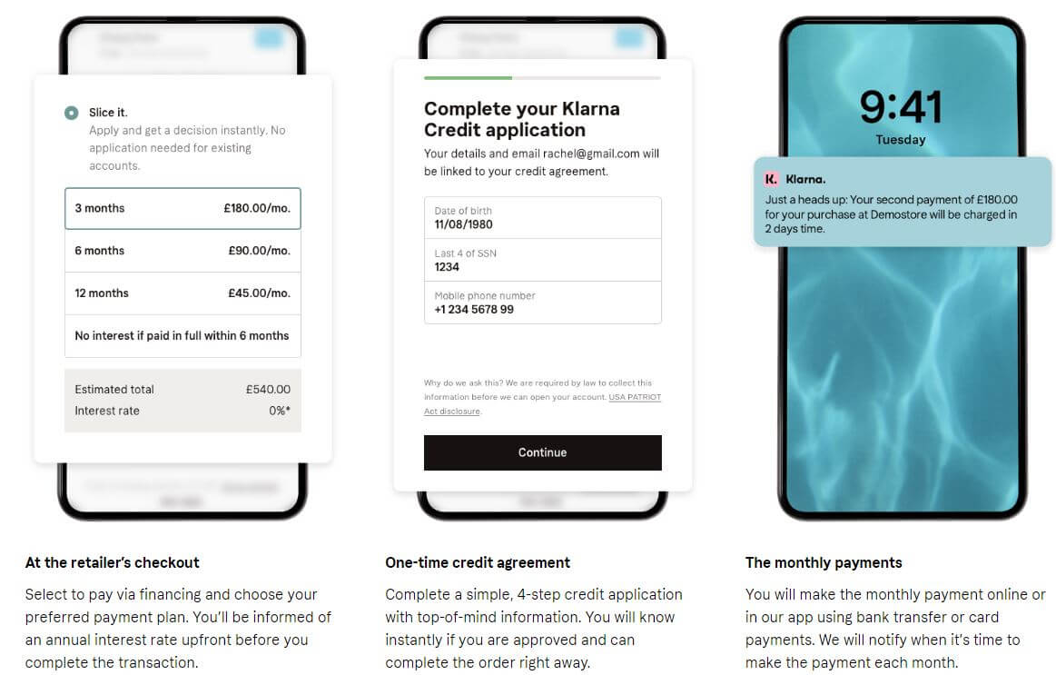Details of credit plan and payments on mobile
