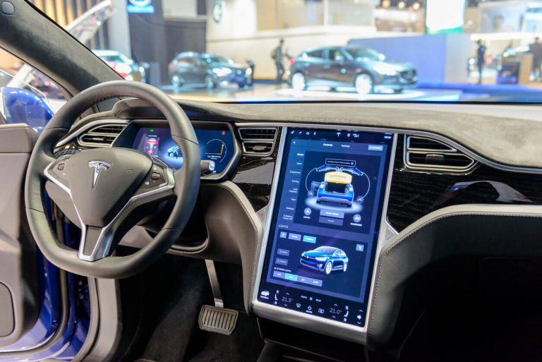 Tesla electric vehicle digital dashboard