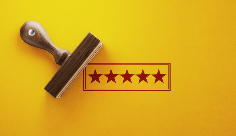 5 stars with yellow background