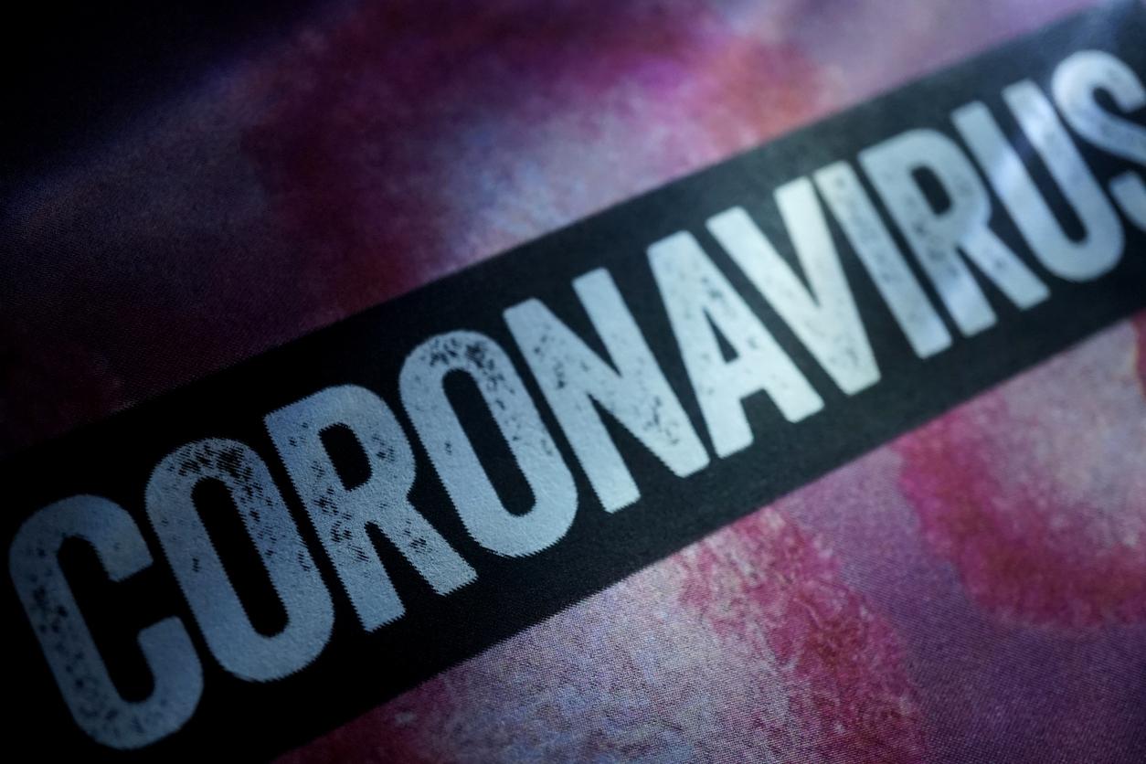 coronavirus in white lettering on black background
