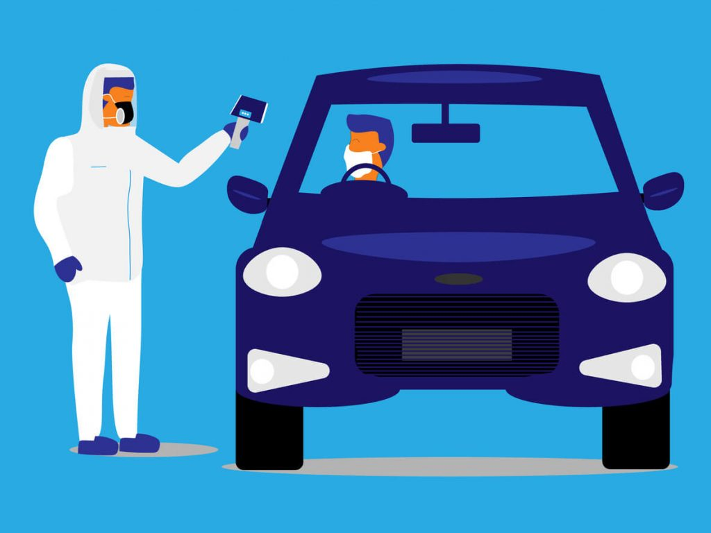 Animation image showing someone in their car being tested for coronavirus by an emergency worker