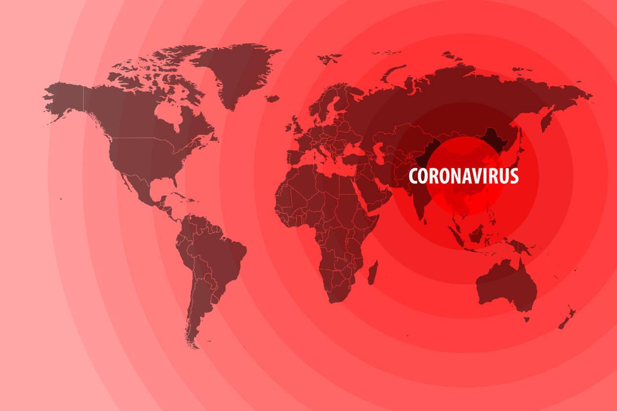 World map showing how Coronavirus has spread