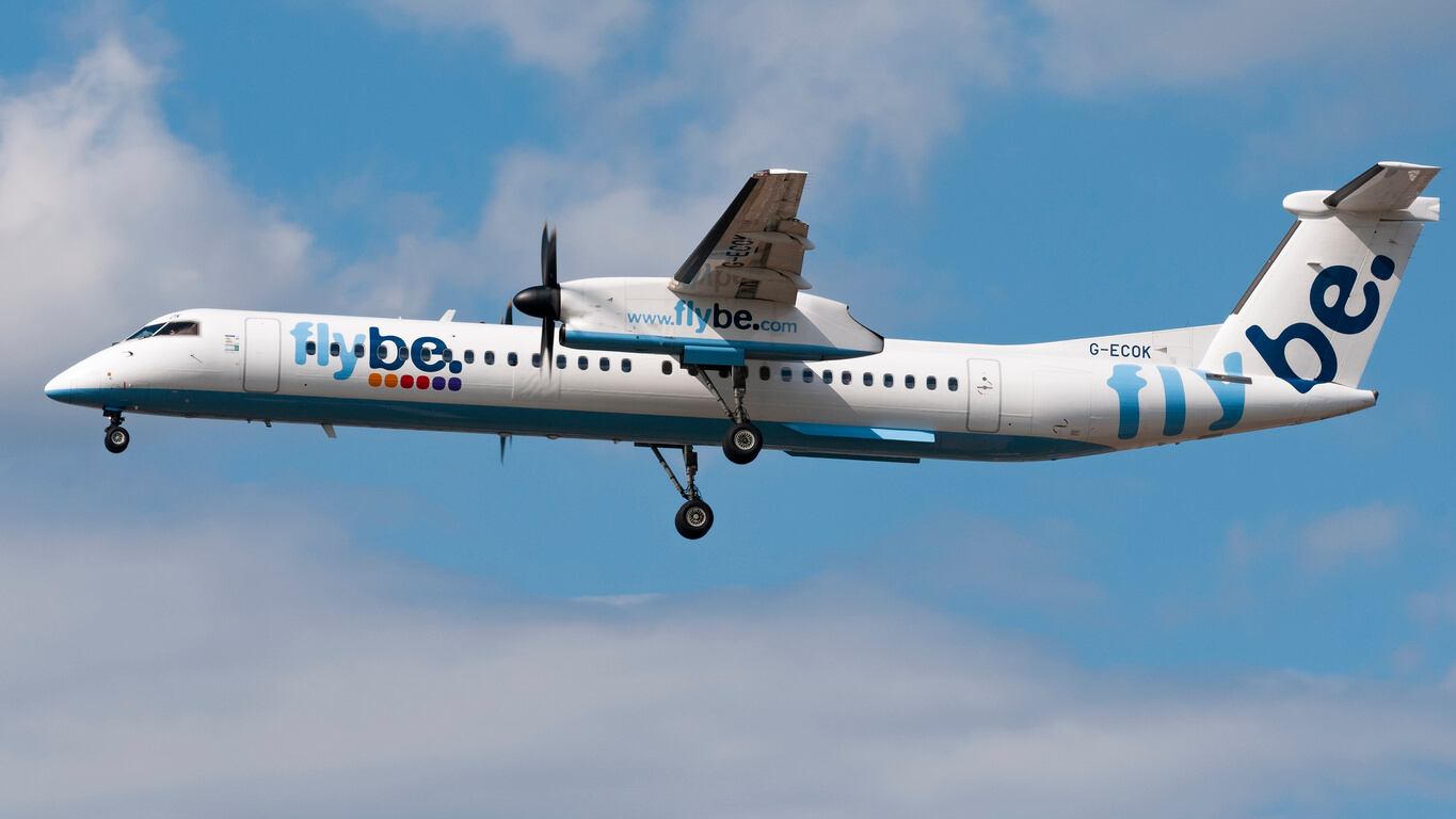 Flybe aeroplane in the sky