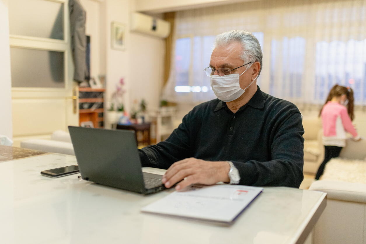 employee working from home during uk coronavirus pandemic