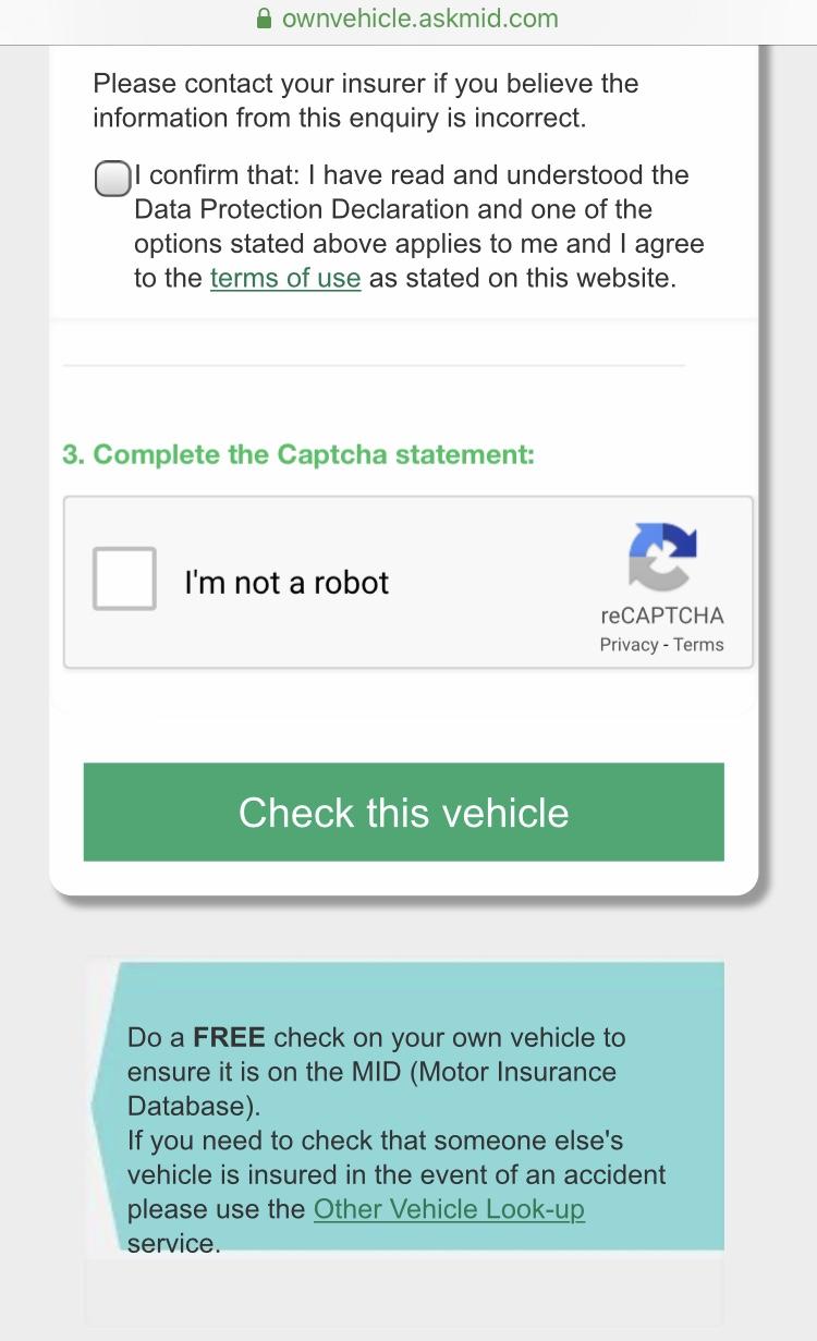 Screenshot of car insurance check on AskMID