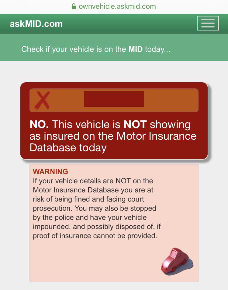 Car insurance not valid